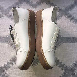 ZARA White Leather Tan Platform Sneakers